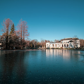 Old Casino by Paul Voie - Buildings & Architecture Public & Historical ( wide angle, cold day, autumn colors, trees, building )