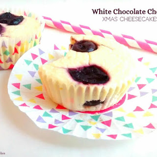 White Chocolate Cherry Xmas Cheesecakes