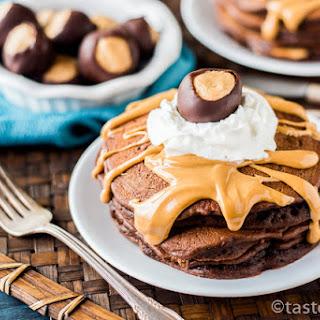 Chocolate Peanut Butter Pancakes {Buckeye Pancakes}.