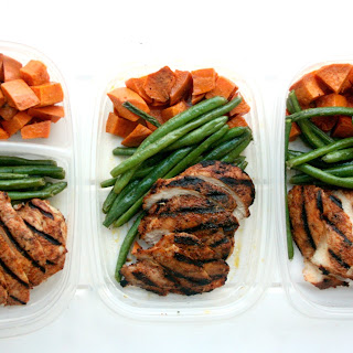 Chipotle Chicken Meal Prep w/ Roasted Sweet Potatoes and Green Beans.