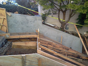 Photo: New retaining wall and framing for new landing/replacement of steps on Hidden Garden Steps site (16th Avenue, between Kirkham and Lawton streets in San Francisco's Inner Sunset District) in February 2013; for more information about the Hidden Garden Steps project, please visit http://hiddengardensteps.org.