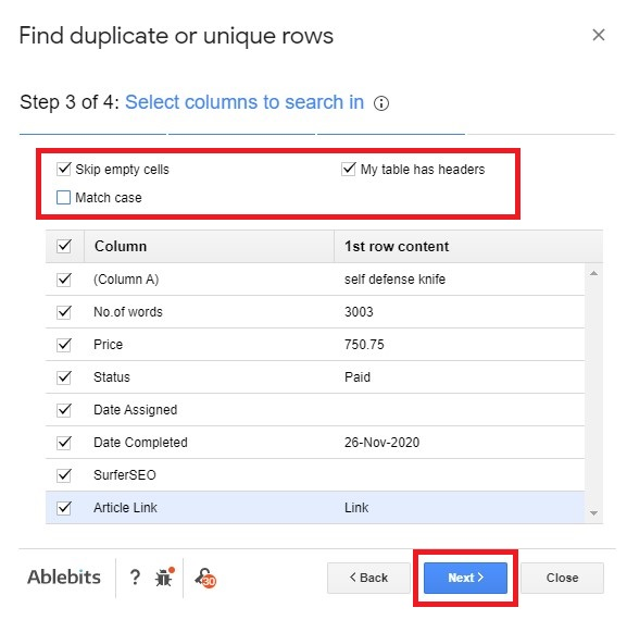 Select columns to search in