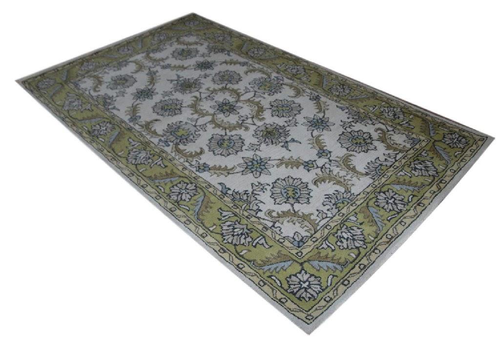 beżowy dywan persian ziegler wełniany ręcznie tkany 155x245 tradycyjny kwiatowy