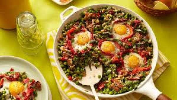 Spring Peas With Eggs And Ham Recipe