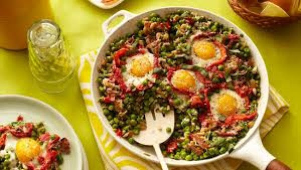 Spring Peas With Eggs And Ham Recipe