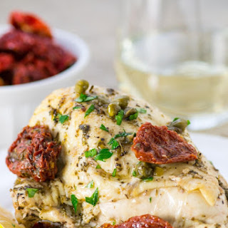 Roasted Chicken Breasts in Date Sauce with Sun Dried Tomatoes and Capers