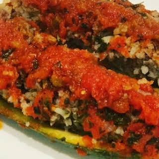 Lamb & Rice Stuffed Zucchini.
