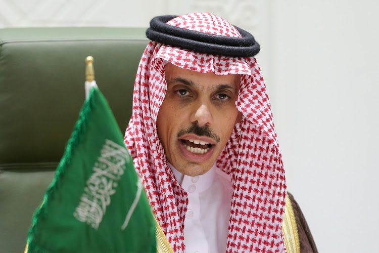 Saudi Arabia's foreign minister Prince Faisal bin Farhan speaks during a news conference in Riyadh, Saudi Arabia, March 22 2021. Picture: REUTERS/AAHMED YOSRI