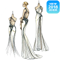Design sketch glamor dresses icon