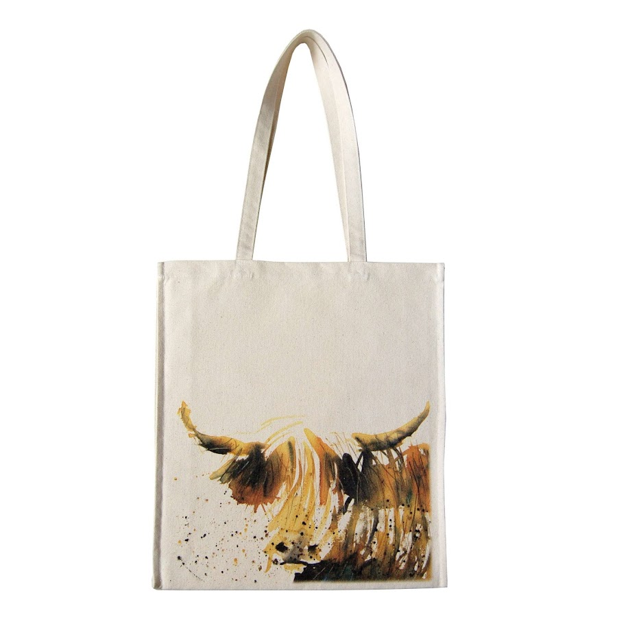 Highland cow bag British design tote canvas shopper