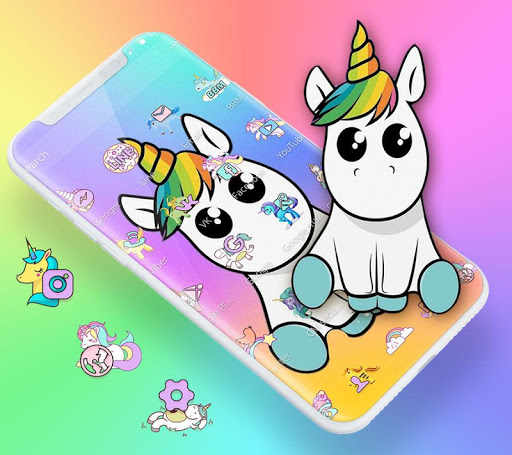 Cute Colorful Cartoon Unicorn Theme 1.1.1 screenshots 2