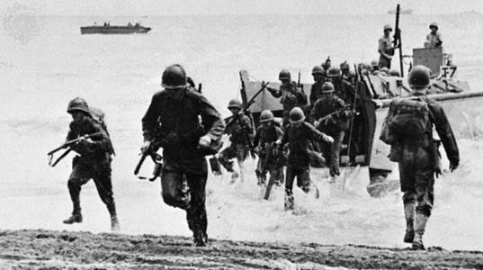 U.S. Marines landing on Guadalcanal, August 1942
