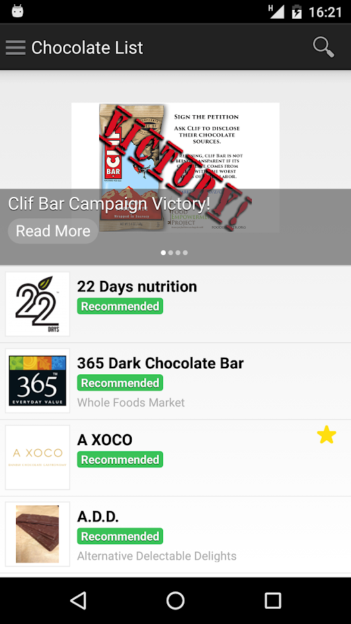 Chocolate List- screenshot