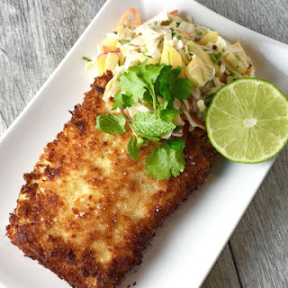 Panko Crusted Cod with Mango Slaw