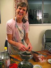 Photo: Barbara preparing cassia leaves