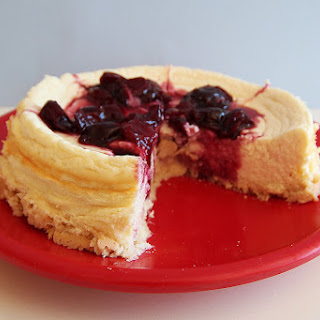 Cherry Protein Cheesecake With Coconut Crust.