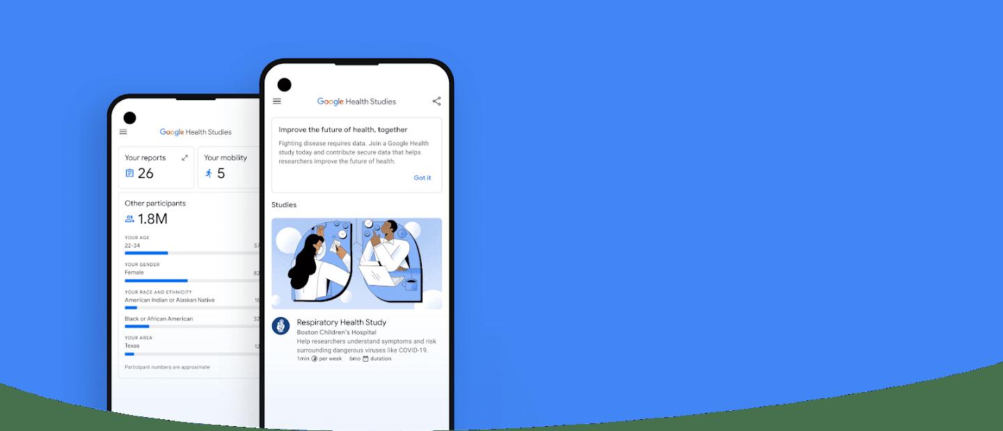 Phone showing the UI of the Google Health Studies app