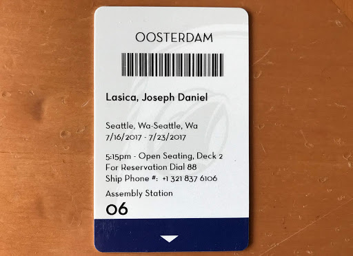 oosterdam-cruise-card.jpg - Here's the kind of cruise card you'll be issued after you board your cruise.