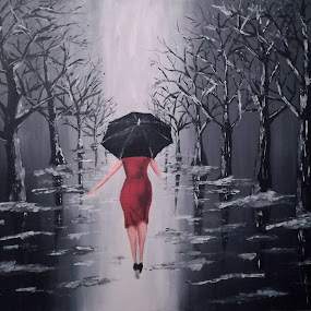 Lady in red by Zeljko Secujski - Painting All Painting ( red, black and white, dress, art, snow, umbrella, acrylic, trees, painting, women, walk )
