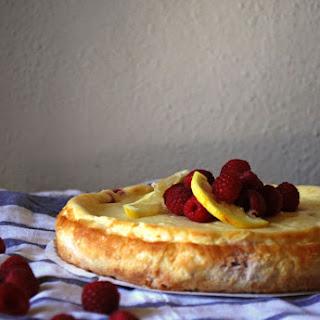 Raspberry Lemon Cheesecake with a Coconut Macaroon Crust.
