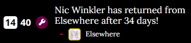 An image of text showing Nic Winkler returning from elsewhere on Day 40.
