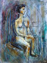 "Photo: 2 Woman of the Sea Far Inland, 2012, 18"" x 24"", 35.7cm x 61cm, acrylic, oil sticks, oil pastels on triple-primed canvas sheet."