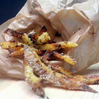 Crispy, Crunchy, Garlicky Baked Potato Fries.