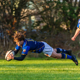Flying try by James Booth - Sports & Fitness Rugby ( sports, rugby, sport )