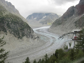 Photo: Having arrived a day before our hiking partners, Marcia and I make an excursion to the Mer de Glace (Sea of Ice), a glacier reached by a cogwheel railway.