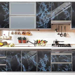 Autocolant imitatie marmura cu fire albastre, 60 x 200 cm, set 2/3 bucati
