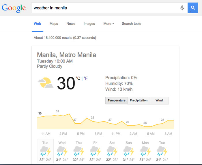 google tips and tricks - weather