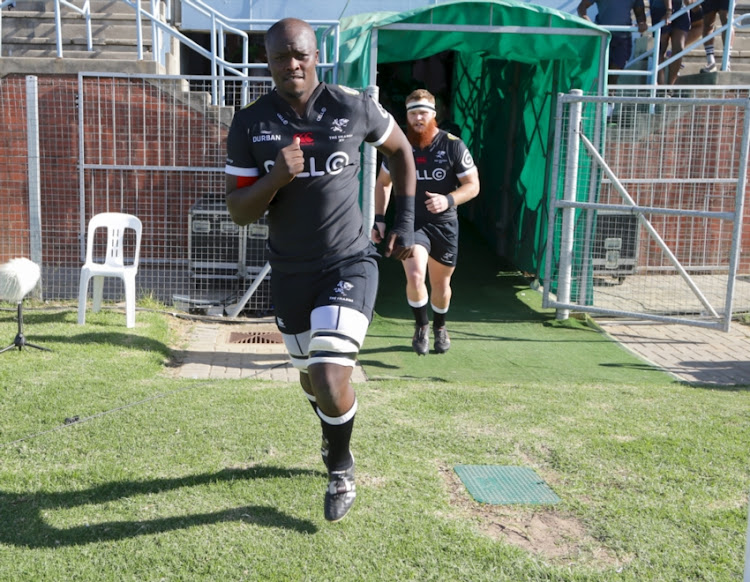 Lubabalo (Tera) Mtembu of Cell C Sharks leads the team out during the SuperSport Rugby Challenge match between Sharks and Griquas at Sisa Dukashe Stadium on June 17, 2018 in East London, South Africa.