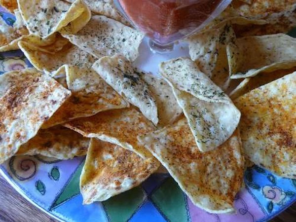 Easy flavorful tortilla Chips:Preheat oven to 350^.8-12  low sodium or no-salt tortilla chipsLay...