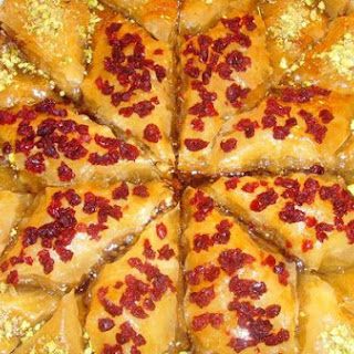 Baklava - Christmas Star - With Pistachio and Dried Cranberries