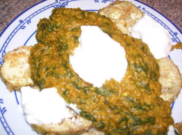 Spinach & Red Lentil Curry On Roasted Eggplant