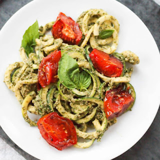 Vegan Zoodles with Creamy Pesto and Roasted Tomatoes