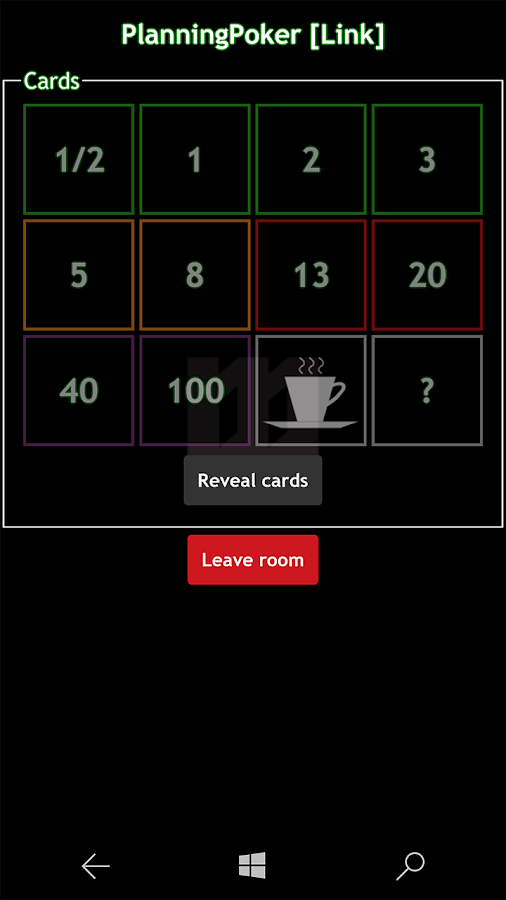 WilliM PlanningPoker- screenshot