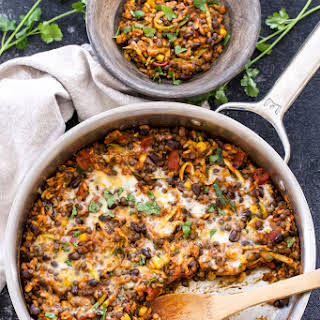 One Pot Cheesy Mexican Lentils, Black Beans and Rice.