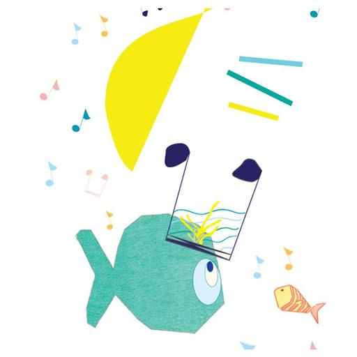 détail illustration comptine - les petits poissons dans l'eau - cadeau enfant décoration personnalisée