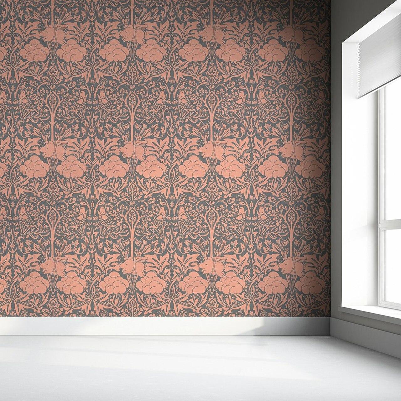 Morris Dream - Peachy Pink And grey Wallpaper