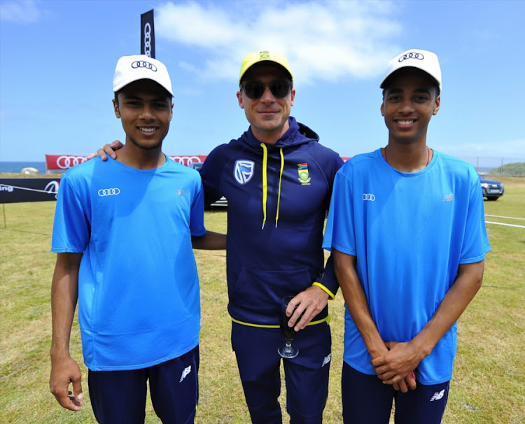 General view of Dale Steyn of the Proteas and participants posing during the Audi Q5 Fast Track Grand Final at Camps Bay Oval on October 19, 2017 in Cape Town, South Africa.