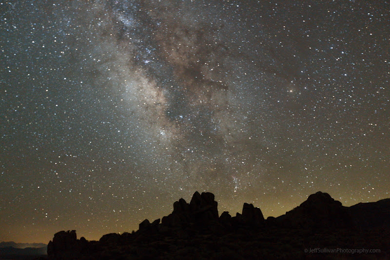 Photo: July Milky Way in the Eastern Sierra. This was taken at11:26 PM, showing the orientation of the Milky Way when it's high in the night sky.