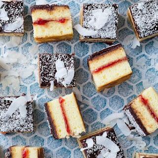Matt Moran's panna cotta lamington cake with strawberry jam.