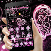 Pink Black Diamond Glitter Hearts Theme