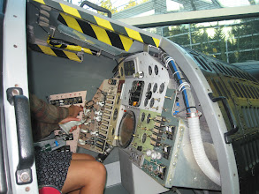 Photo: Jill trying out the controls.