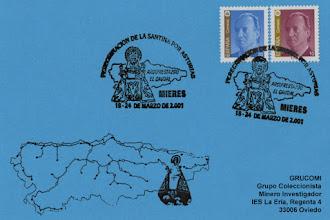Photo: Matasellos del 2001 de la visita de la Santina a Mieres