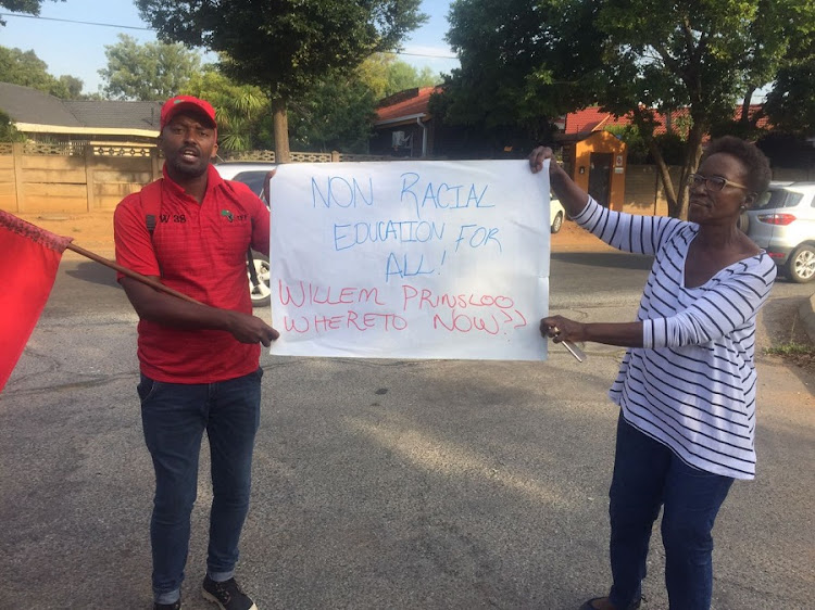 Members of the EFF protesting outside Hoërskool Ondervaal. Picture: NEO GOBA