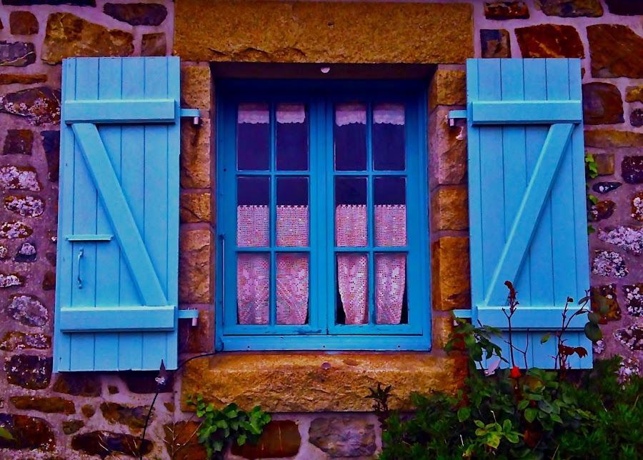 Blue beauty by Dobrin Anca - Buildings & Architecture Architectural Detail ( window, blue, sunny, funny, brittany,  )