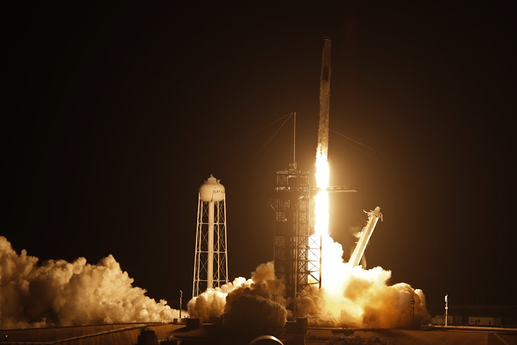 A SpaceX Falcon 9 rocket, with the Crew Dragon capsule, is launched at Kennedy Space Center in Cape Canaveral, Florida, US, April 23 2021. Picture: REUTERS/JOE SKIPPER
