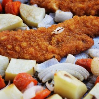 30-Minute Breaded Chicken With Roasted Veggies.